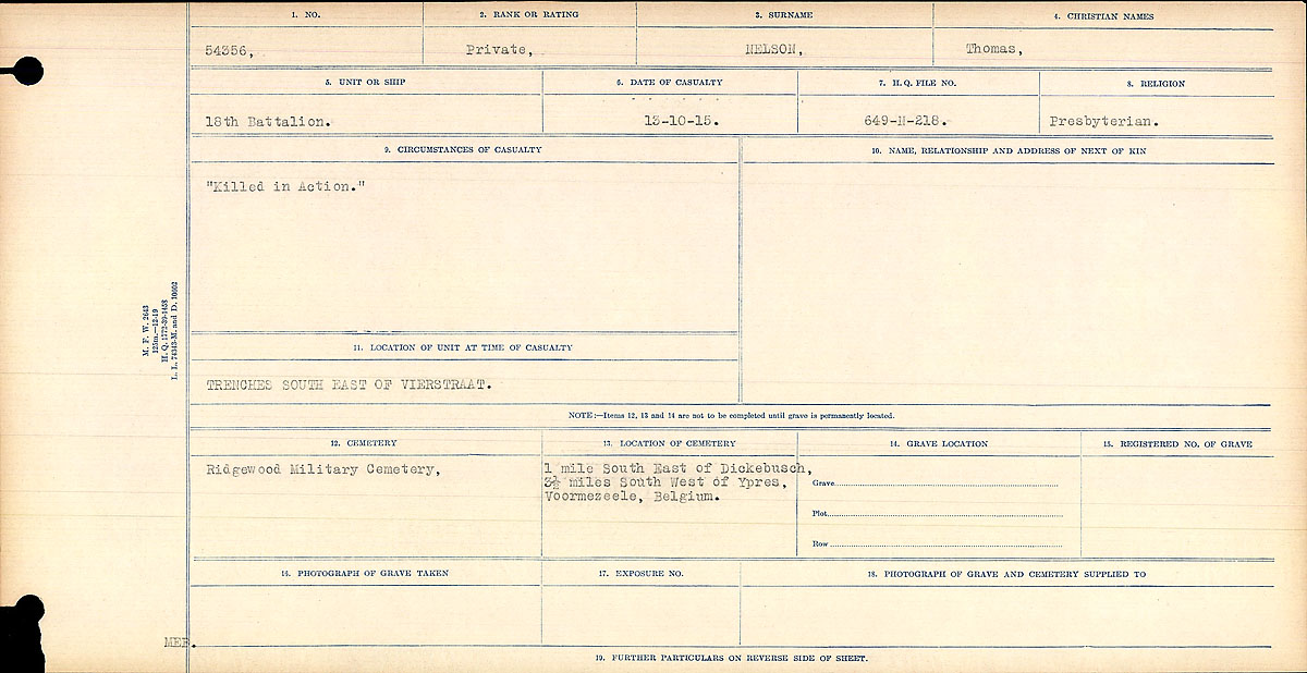 """Circumstances of Death Registers – Brother of Nelson, William Service No. 54340. Killed in the same day and both served in the 18th Battalion. Elizabeth Nelson mother.  """"Killed in Action""""  Contributed by E.Edwards www.18thbattalioncef.wordpress.com"""