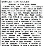 Newspaper Clipping – Pte. David Scobie is mentioned in this article as one of the heroes from Chesley, Ontario.