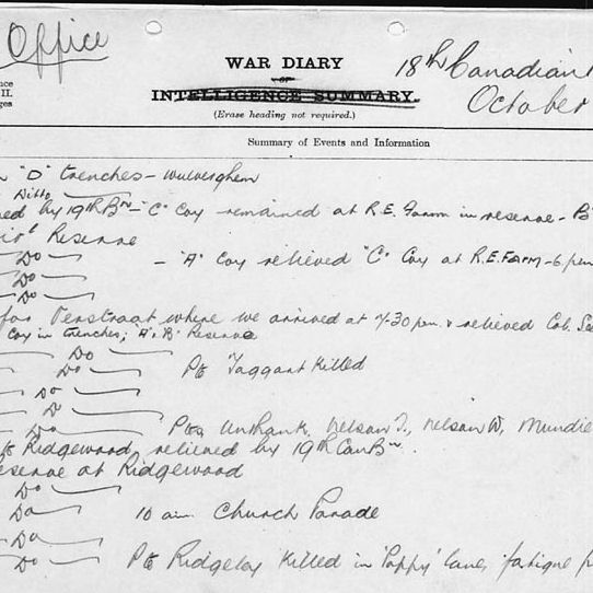 Wartime diary – 18th Battalion War Diary recording the death, in action, of Private Taggart.  Contributed by E.Edwards www.18thbattalioncef.wordpress.com