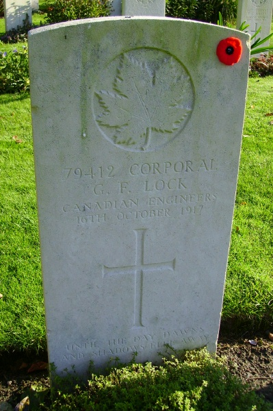 Grave Marker – Grave marker … Ramparts Cemetery (Lille Gate) … photo courtesy of Marg Liessens