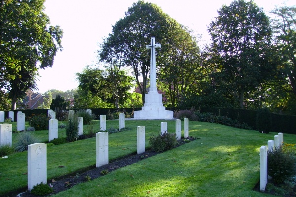 Cross of Sacrifice – Cross of Sacrifice … Ramparts Cemetery (Lille Gate) … photo courtesy of Marg Liessens