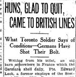 Newspaper Clipping – From the Toronto Star for 8 December 1915.