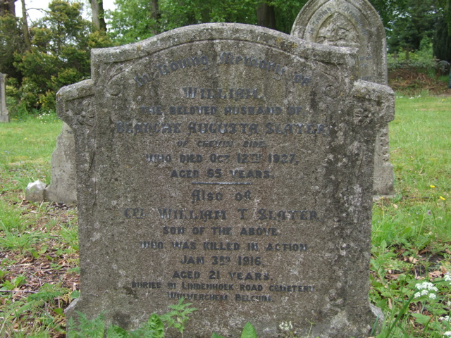 Family Memorial – Family memorial in St John the Evangelist's Churchyard, Hazelwood, Derbyshire, England.  William was the son of William and Blanche Augusta Slater and was born in Belper, Derbyshire.  He worked as a Teamster in Canada and enlisted at Toronto on 5th April 1915.