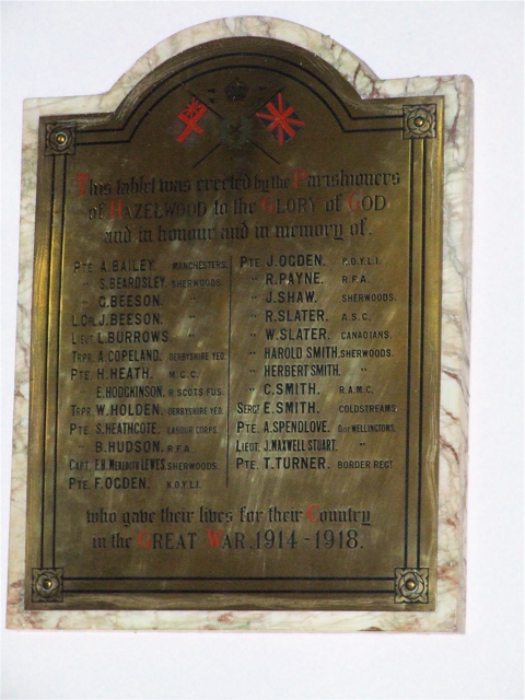 War Memorial – WW1 war memorial inside St John the Evangelist's Church, Hazelwood on which William's name is commemorated.
