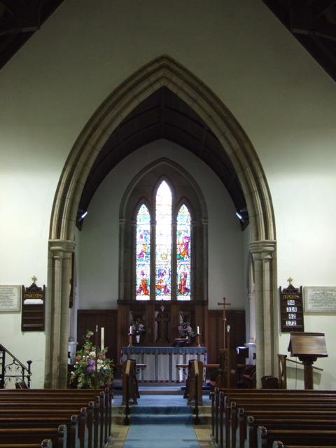 St John the Evangelist's Church – The interior of St John the Evangelist's Church, where the Hazelwood War Memorial is located.