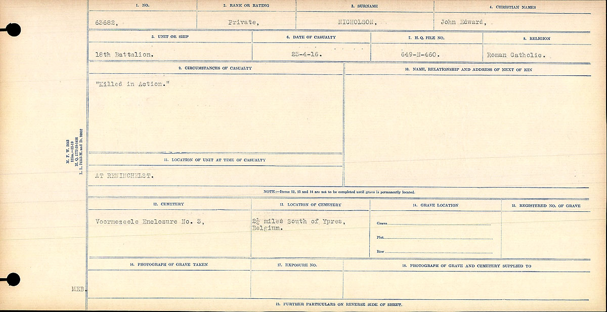 """Circumstances of Death Registers – Circumstances of Death Registration: """"Killed in Action."""""""