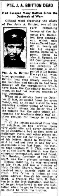 Photo of JOHN ALFRED BRITTON – From the Toronto Star. Submitted for the project, Operation: Picture Me