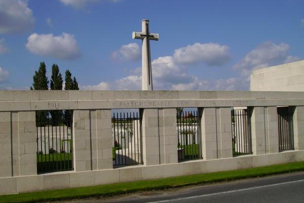 Cemetery Entrance – Entrance … Passchendaele New British Cemetery … photo courtesy of Marg Liessens