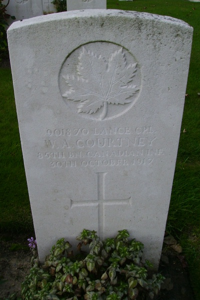Grave Marker – Grave marker … Passchendaele New British Cemetery … photo courtesy of Marg Liessens