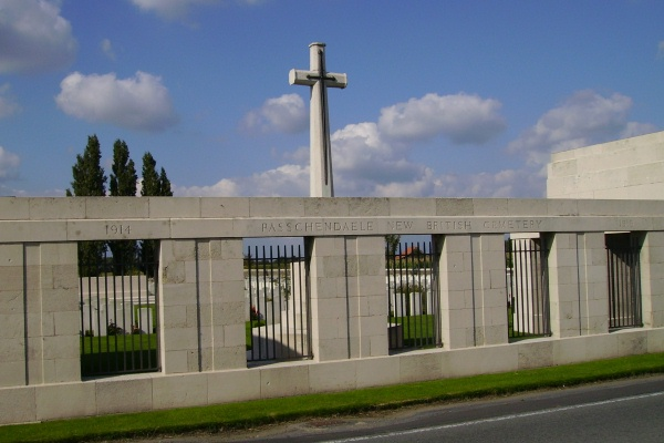 Cemetery Entrance – Entrance … Passchendaele New British Cemetery … photo courtesy of Marg Liessens