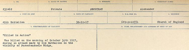 Circumstances of death registers – Source: Library and Archives Canada. CIRCUMSTAN CES OF DEATH REGISTERS, FIRST WORLD WAR. Surnames: Davy to Detro. Microform Sequence 27; Volume Number 31829_B016736. Reference RG150, 1992-93/314, 171. Page 361 of 1036. Body left on the Field, Passchendaele Ridge.