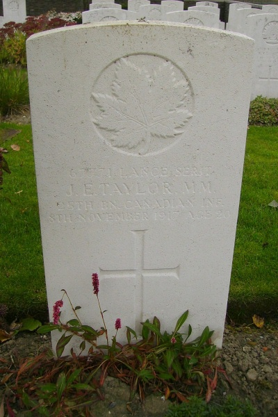 Grave Marker – Grave marker … Passchendale New British Cemetery … photo courtesy of Marg Liessens