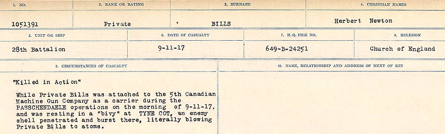 Circumstances of Death Registers – Source: Library and Archives Canada.  CIRCUMSTANCES OF DEATH REGISTERS FIRST WORLD WAR Surnames: Bernard to Binyon. Mircoform Sequence 9; Volume Number 31829_B016719; Reference RG150, 1992-93/314, 153 Page 567 of 652