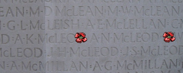 Inscription – Vimy Memorial - August 2012 … Private Arthur Norman McLeod is also buried at Tyne Cot Cemetery, Belgium. Photo courtesy of Marg Liessens