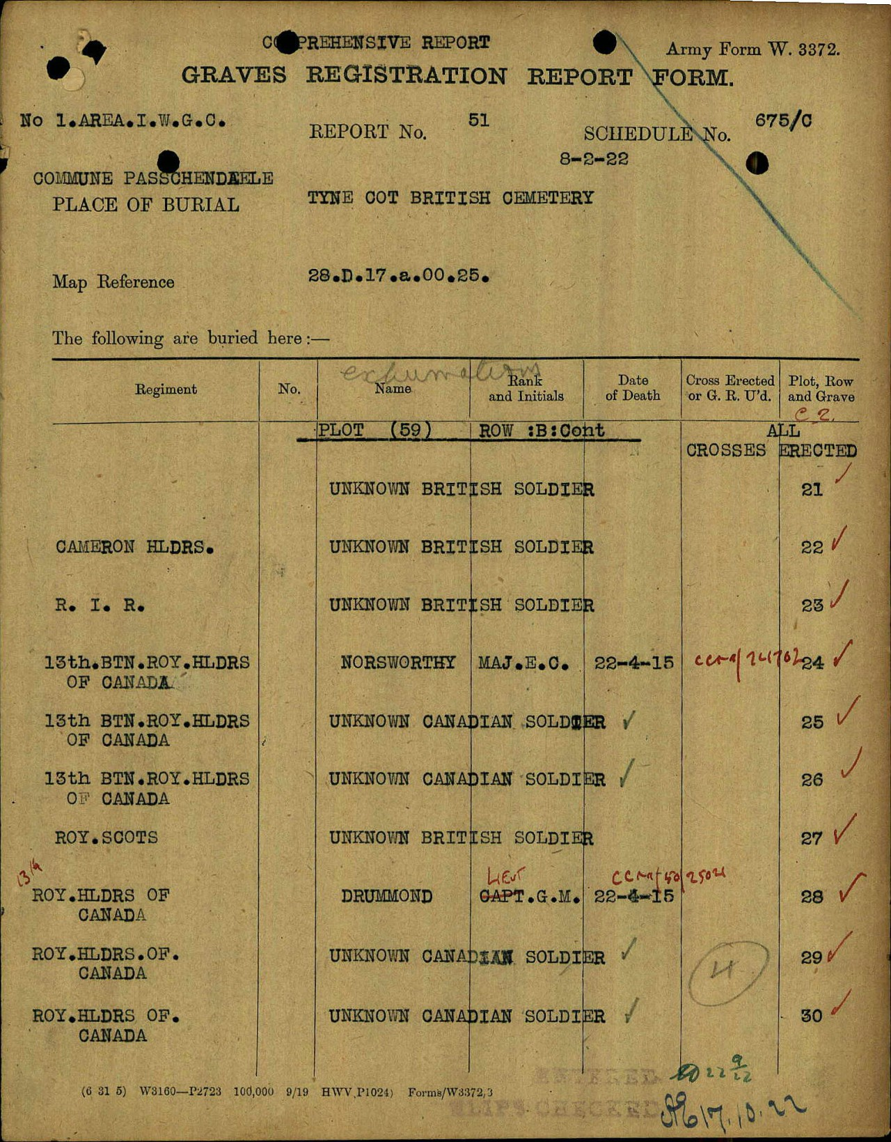 Grave Registration Report – The CWGC Graves Registration Report Form (GRRF) shows that Major Norsworthy is buried in Plot 59 Row B Grave 24 of the Tyne Cot (British) Cemetery. Five (5) other men of the 13th Battalion are listed on the same page. The GRRF was prepared on the basis of the identification noted on the COG-BR (see other image).