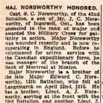 Newspaper Clipping – Notice of promotion and Military Cross awarded to Major Norsworthy's brother.