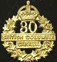 Badge – Cap Badge 30th Bn (2nd British Columbians) CEF.   Private Exshaw was a member of the 30th Bn before being transferred to the 15th Bn as a reinforcement.   Submitted by Capt V Goldman, 15th Bn Memorial Project Team.  DILEAS GU BRATH