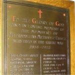 Commemorative Plaque – WWI Memorial Plaque located in the Metropolitan United Church, 56 Queen St. East, Toronto, Ontario.  The current building was dedicated in 1872 as the Metropolitan Wesleyan Methodist Church.