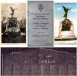 Sherbrooke Monument – Cover of the original program distributed at the unveiling of the Sherbrooke WWI memorial on November 7th, 1926, and two images of the monument.   The monument was designed by Mr. G. W. Hill of Montreal, Quebec with bronze figures cast in Belgium and granite from the Stanstead district.  The bronze Memorial tablet lists 249 names.
