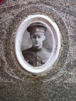 Photo of George Simpson – Close up of photo embedded in headstone marker in the Milford Cemetery to remember George Haliday Simpson.