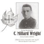 Memorial Page – C. Millard Wright is honoured on page 101 of the Gananoque Remembers booklet, published on January 31, 2005.