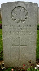 Grave Marker – Grave marker of A/Bdr. C. Millard Wright, Gananoque, Ont.  Photo courtesy of Wilf Schofield, England.