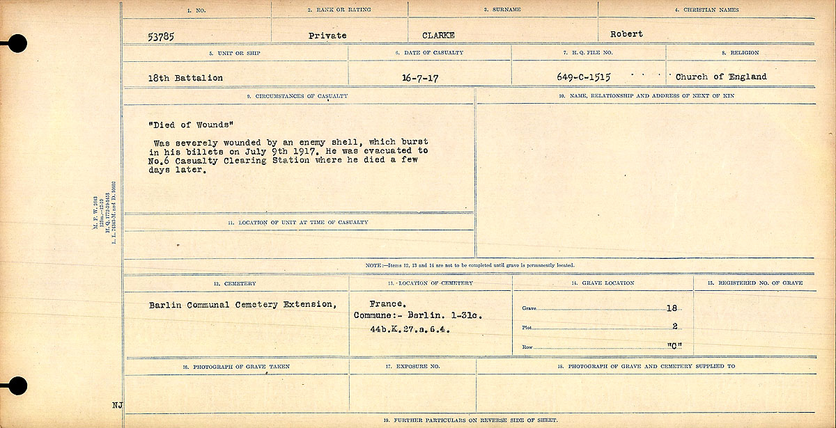 """Attestation Papers – Circumstances of Death Register: """"Died of Wounds"""" Was severely wounded by an enemy shell, which burst in his billets on July 9th, 1917. He was evacuated to No. 6 Casualty Clearing Station, where he died a few days later.  Mikan record:46246 Volume Number:31829_B016729 Page:1 Number of pages:1068 Contributed by E.Edwards"""