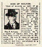 Newspaper Clipping – Pte. Lock enlisted in Toronto on February 26th, 1916.  His attestation was stamped for the 166th Overseas Battalion.