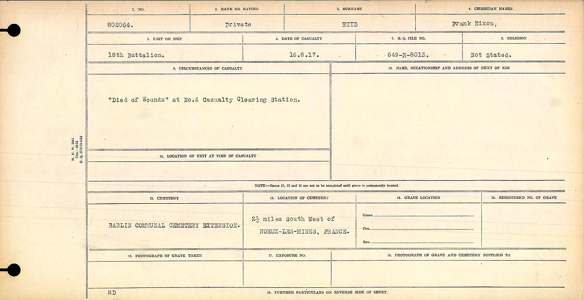"""Circumstances of Death Registers – """"Died of Wounds"""" at No. 6 Casualty Clearing Station."""