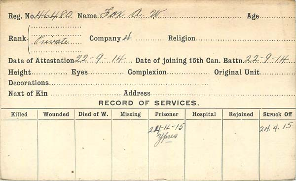 Record of Service – Record of Service Card (front side).  Submitted by 15th Bn Memorial Project Team.  DILEAS GU BRATH