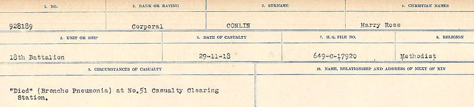 Circumstances of Death Registers – Source: Library and Archives Canada.  CIRCUMSTANCES OF DEATH REGISTERS, FIRST WORLD WAR Surnames:  CLEAL TO CONNOLLY.  Microform Sequence 21; Volume Number 31829_B016730. Reference RG150, 1992-93/314, 165.  Page 1265 of 1384.