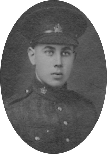 Photo of STANLEY CHARLES WILKERSON – From a collage photo layout of members of A Company and the bugle band of the 157th Canadian Infantry Battalion.