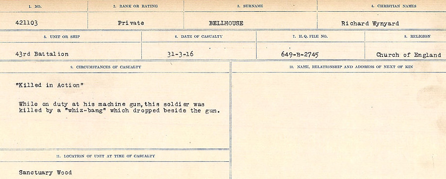 Circumstances of Death – Source: Library and Archives Canada.  CIRCUMSTANCES OF DEATH REGISTERS FIRST WORLD WAR Surnames:  Bell to Bernaquez.  Mircoform Sequence 8; Volume Number 31829_B016718; Reference RG150, 1992-93/314, 152 Page 285 of 670.
