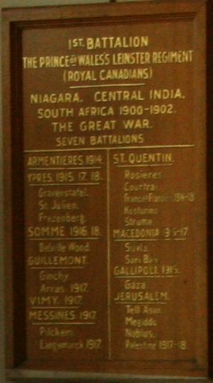 Leinster Regiment plaque – Leinster Regiment plaque at Royal Military College of Canada