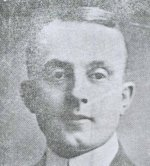 """Photo of Frederick S. Albright – Extract from an obituary for Private Albright which was written by Dr. W.H. Alexander of the University of Alberta and was printed in the November 25, 1917 issue of The Gateway. The war has heightened our sympathies, we are told, but it does seem sometimes as if it had dulled our sensibilities.  Perhaps it is inevitable: so many of those we loved have gone the dark road that there are no tears left for the young and the brave who are still laying down their lives """"over there.""""  Yet every once in a while there comes a loss that strikes us even in our coma, and such to me was the death in action of F. S. Albright of Calgary, the other day.   Probably not many of our students knew him; he was not a graduate of ours, and his chief tie to us was his lectureship in Law.  And yet he was drawn to us by warm affection, by the sympathy he entertained for the young institution for whose future he cherished the highest hopes.   I saw him last in February [1917] just before he left with a draft company of his battalion, bright and cheery, and just as convinced as ever that he had chosen the better part which could not ever be taken from him.  I am honored in being permitted to lay this tribute upon the altar of his memory; I desire also on behalf of this University into the making of which his life has gone, to offer to his young wife our respectful sympathy."""