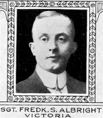 Photo of Frederick Albright – From: The Varsity Magazine Supplement Fourth Edition 1918 published by The Students Administrative Council, University of Toronto.   Submitted for the Soldiers' Tower Committee, University of Toronto, by Operation Picture Me.