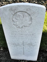 Grave Marker – The grave marker at the Railway Dugouts Burial Ground Cemetery located approximately 3 kilometres to the south of Ieper, Belgium. May he rest in peace. (K. Falconer & J. Stephens 2010)