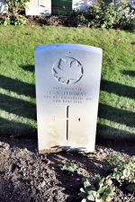 Grave marker – The grave marker at the Railway Dugouts Burial Ground Cemetery located approximately 3 kilometres to the south of Ieper, Belgium. May he rest in peace. (J. Stephens 2010)