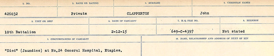 Circumstances of Death Registers – Source: Library and Archives Canada.  CIRCUMSTANCES OF DEATH REGISTERS, FIRST WORLD WAR Surnames:  CHILD TO CLAYTON.  Microform Sequence 20; Volume Number 31829_B016729. Reference RG150, 1992-93/314, 164.  Page of 413 of 1068.