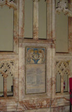 """World War I memorial tablet – World War One memorial tablet set in the chancel screen at St. Paul's (Anglican),  Toronto, Ontario.  The screen is in three sections, with the two outside sections displaying the tablets.  The chancel screen includes statues of twelve historic figures including Admiral Earl Beatty, King George V, Earl Kitchener, Marshal Foch, Earl Haig, and Lord Byng of Vimy.  The screen was the work of Messrs. J. Wippell & Co., of Exeter, England.  The great chancel war memorial windows are located above. These are inscribed:   """"To the Greater Glory of God and in Everlasting Remembrance of the Men of St. Paul's Parish who gave their lives in Defence of Justice, Liberty and Truth, A.D. 1914-1919.""""  They were unveiled in 1921 by the Governor-General of Canada, Baron Byng of Vimy.  Another World War One memorial window in honour of the men named on the tablets is located on the east wall of the Nave.  The panels include fragments of glass from 70 buildings in the war zones.  It was unveiled by Baron Byng of Vimy in 1922.  Both windows were manufactured by Robert McCausland Ltd. of Toronto"""