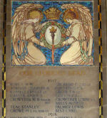 Inscription – World War One memorial tablet, St. Paul's (Anglican), Bloor St. East, Toronto, Ontario.  One of two memorial tablets set within a spectacular carved alabaster chancel screen.  Erected in memory of the men of St. Paul's who died during the first World War and unveiled in March 1926.   Each alabaster tablet incorporates mosaic work depicting kneeling angels holding a laurel wreath and a torch.  Seventy-six names in total were listed by date of death.   Inscribed:  'IN CHRIST SHALL ALL BE MADE ALIVE', and from The Very Reverend Cyril Alington:   'And us they trusted. We the task inherit / The unfinished task for which their lives were spent / But leaving us a portion of their spirit / They gave their witness and they died content.'