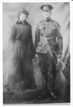 Group Photo – Fleming Wesley Hines with sister Eva May Hines Kendrick before he left home. Taken in Essex, Ontario in early 1916.