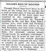 Newspaper clipping – Newspaper article about Fleming Hines' death, Essex Free Press archives - Sept. 22, 1916