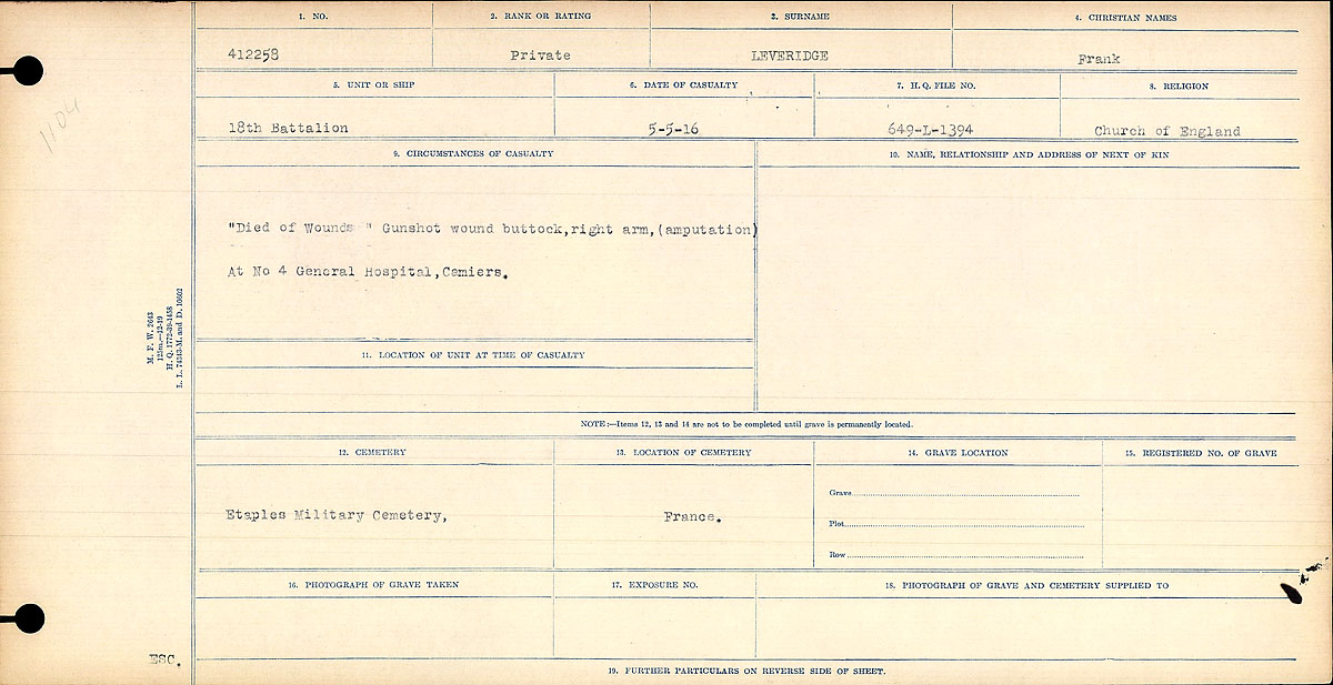 """Circumstances of Death Registers – """"Died of Wounds"""" Gunshot wound buttock, right arm, (amputation) at No. 4 General Hospital, Cemiers."""
