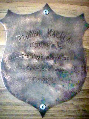 Memorial – Royal Canadian Legion Baddeck, John Maclean