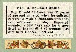 Newspaper Clipping – Pte. Donald McLeod enlisted in Toronto on August 30th, 1915 with the 92nd O.S. Battalion (Highlanders) C.E.F.  His service number should appear as 195330.