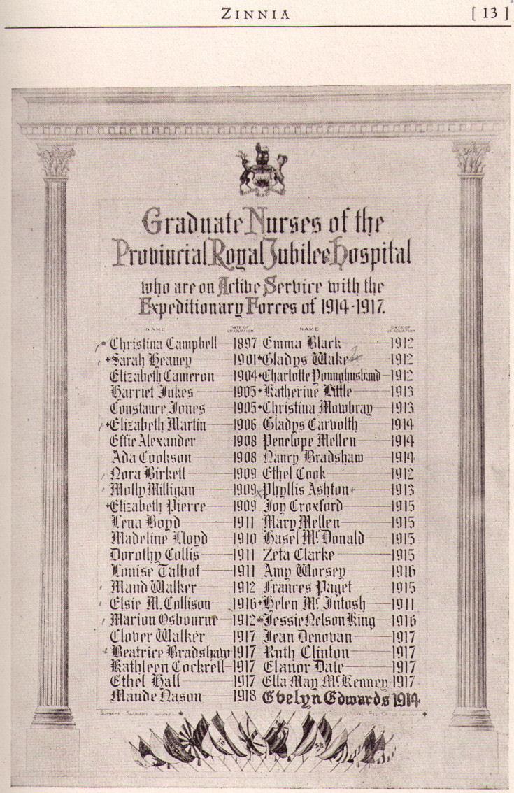 The Royal Jubilee Hospital School of Nursing Memorial Scroll