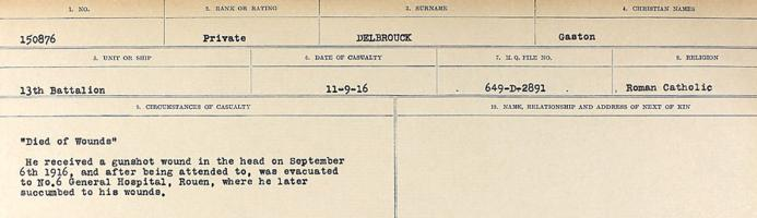 Circumstances of death registers – Source: Library and Archives Canada. CIRCUMSTANCES OF DEATH REGISTERS, FIRST WORLD WAR. Surnames: Davy to Detro. Microform Sequence 27; Volume Number 31829_B016736. Reference RG150, 1992-93/314, 171. Page 529 of 1036.