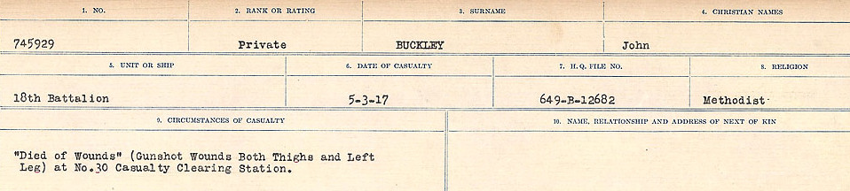 Circumstances of Death Registers – Source: Library and Archives Canada.  CIRCUMSTANCES OF DEATH REGISTERS FIRST WORLD WAR Surnames: Brubacher to Bunyan. Mircoform Sequence 15; Volume Number 31829_B016724; Reference RG150, 1992-93/314, 159 Page 413 of 668