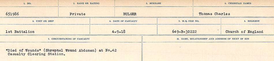 Circumstances of Death Registers – Source: Library and Archives Canada.  CIRCUMSTANCES OF DEATH REGISTERS FIRST WORLD WAR Surnames: Brubacher to Bunyan. Mircoform Sequence 15; Volume Number 31829_B016724; Reference RG150, 1992-93/314, 159 Page 503 of 668